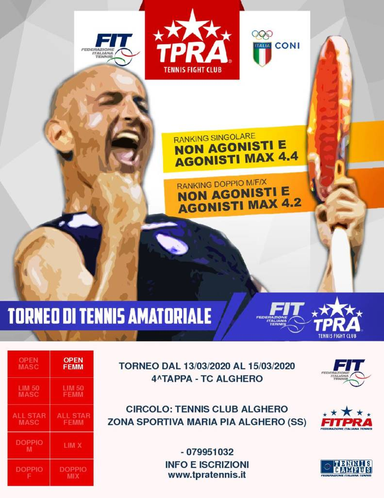 Torneo TPRA singolare femminile tc Alghero.